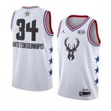 Milwaukee Bucks ^ 34 Blanc Giannis Antetokounmpo Maillot Swingman All-Star 2019 pour Hommes