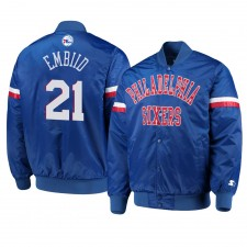 Philadelphia 76ers ^ 21 Joel Embiid Hommes Veste Royale Royale Vars