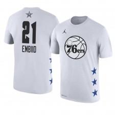 Philadelphia 76ers ^ 21 Joel Embiid 2019 T-shirt blanc avec nom et numéro du match