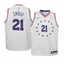 Blanc jeune, Philadelphia 76ers ^ 21 Maillot Joel Embiid Edition gagnée