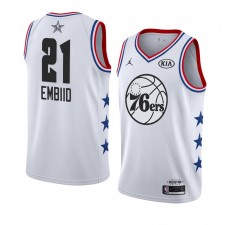 Philadelphia 76ers ^ 21 White Joel Embiid All-Star Game Swingman 2019 fini Jersey Hommes