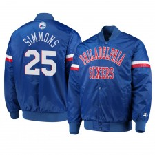 Philadelphie 76ers ^ 25 Ben Simmons Hommes La veste royale Champ Varsity Satin Royal