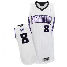 NBA Rudy Gay Authentic Men's White Jersey - Adidas Sacramento Kings &8 Home