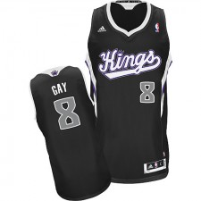 NBA Rudy Gay Swingman Men's Black Jersey - Adidas Sacramento Kings &8 Alternate