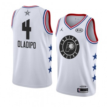 Indiana Pacers # 4 Blanc Victor Oladipo 2019 All-Star Game Maillot terminé Homme