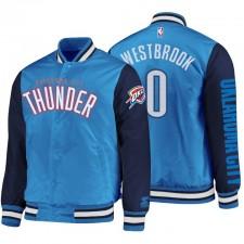 Manteau Oklahoma City Thunder pour hommes ^ 0 Russell Westbrook Veste Full Snap Bleu Marine en Satin