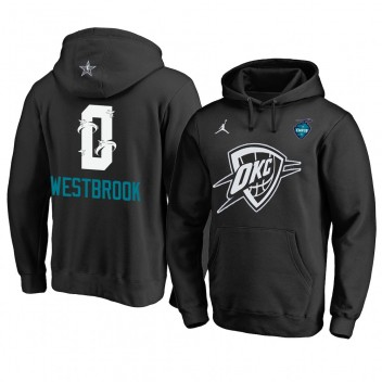 Oklahoma City Thunder # 0 Sweat à capuche All-Star 2019 de Russell Westbrook Noir pour hommes