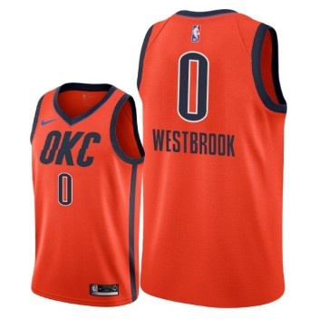 Oklahoma City Thunder # 0 Maillot Russell Westbrook - Swingman Gagné - Orange