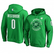 Oklahoma City Thunder ^ 0 Russell Westbrook Green - Pull à capuche pour la Saint-Patrick