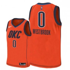 Hommes Oklahoma City Thunder ^ 0 Maillot Russell Westbrook pour Swingman Edition Gagnée - Orange
