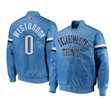 Oklahoma City Thunder ^ 0 Russell Westbrook Veste Le Champ Varsity Satin Blue pour Homme