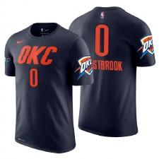 Oklahoma City Thunder ^ 0 Russell Westbrook T-shirt en jersey avec nom et numéro bleu marine