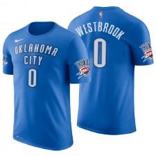 T-shirt maillot avec nom et numéro de bleu Russell Westbrook Icon Edition bleu de l'Oklahoma City Thunder ^ 0
