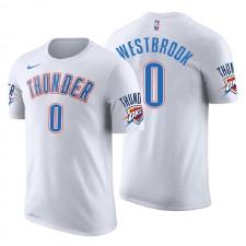 Oklahoma City Thunder ^ 0 Russell Westbrook Association T-shirt en jersey blanc avec nom et numéro