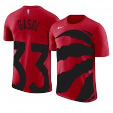 Raptors de Toronto pour hommes ^ 33 Marc Gasol - Logo de l'équipe avec impression surdimensionnée Nom et numéro T-shirt rouge