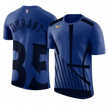 T-shirt royal avec nom et numéro de logo Kevin Durant surdimensionné pour hommes de Golden State Warriors ^ 35