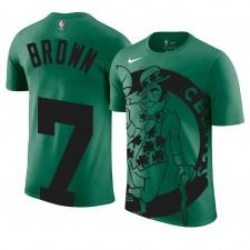 Tee shirt Homme Vert Celtic de Boston Celtics ^ 7 Jaylen Brown avec Nom et Numéro Vert