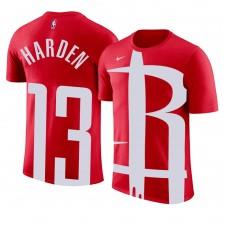 Houston Rockets pour hommes ^ 13 James Harden - Logo de l'équipe avec impression surdimensionnée - Nom et numéro T-shirt rouge