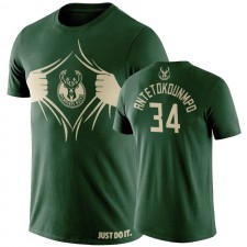 Milwaukee Bucks Giannis Antetokounmpo & 34 T-shirt avec le logo de l'équipe MVP 2019