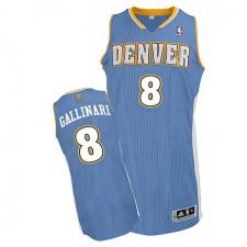 NBA Danilo Gallinari Authentic Men's Light Blue Jersey - Adidas Denver Nuggets &8 Road