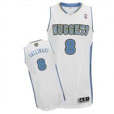 NBA Danilo Gallinari Authentic Men's White Jersey - Adidas Denver Nuggets &8 Home