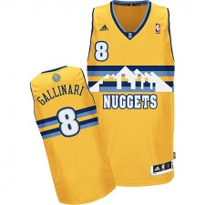 NBA Danilo Gallinari Swingman Men's Gold Jersey - Adidas Denver Nuggets &8 Alternate