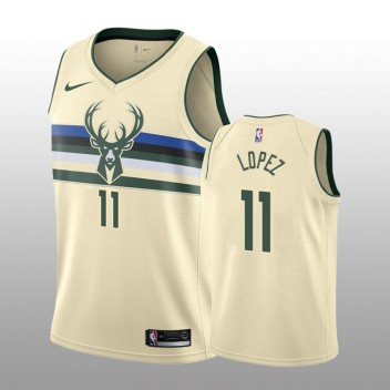 Milwaukee Bucks #11 Brook Lopez Crème Swingman Nike Maillot - City édition