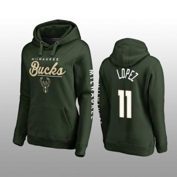 Chandail à capuchon haut de gamme pour femmes de marque Milwaukee Bucks # 11 Brook Lopez Fanatics - Vert
