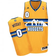 NBA Emmanuel Mudiay Authentic Men's Gold Jersey - Adidas Denver Nuggets &0 Alternate