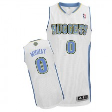 NBA Emmanuel Mudiay Authentic Men's White Jersey - Adidas Denver Nuggets &0 Home