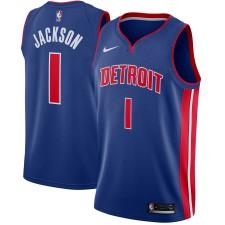 Maillot Nike Blue Swingman Reggie Jackson pour hommes Detroit Pist - Icône Édition
