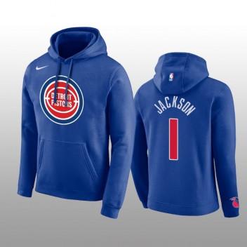 Pistons Reggie Jackson Club Logo Logo Pull À Capuche Bleu