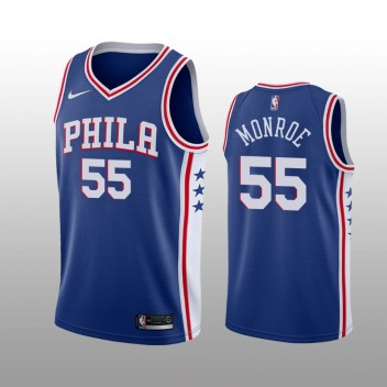 Hommes Philadelphia 76ers #55 Greg Monroe bleu icône édition Maillot