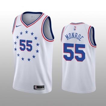 Hommes Philadelphia 76ers #55 Greg Monroe Blanc Earned Édition Maillot