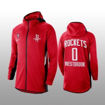 Houston Rockets Russell Westbrook - Sweat à capuche perforé pleine performance Showtime Rouge