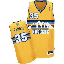 NBA Kenneth Faried Authentic Men's Gold Jersey - Adidas Denver Nuggets &35 Alternate