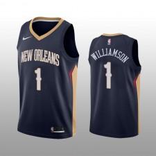 Pélicans & 1 de la Nouvelle-Orléans pour Homme Maillot Zion Williamson Navy Icon Edition