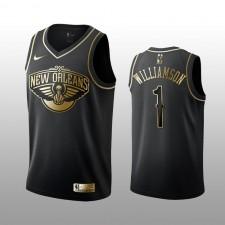 Pelicans de la Nouvelle-Orléans hommes &1 Zion Williamson Noir Golden édition Maillot