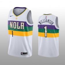 Pelicans de la Nouvelle-Orléans hommes &1 Zion Williamson Blanc City édition Maillot