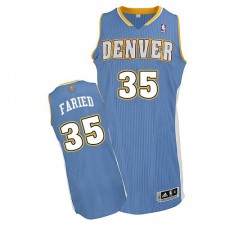 NBA Kenneth Faried Authentic Men's Light Blue Jersey - Adidas Denver Nuggets &35 Road