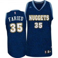 NBA Kenneth Faried Authentic Men's Navy Blue Jersey - Adidas Denver Nuggets &35 Crazy Light