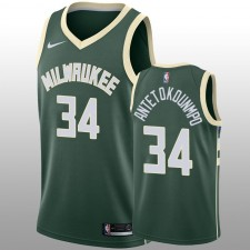 Milwaukee Bucks &34 Giannis Antetokounmpo Swingman Vert Hommes Nike Maillot - Icon Edition