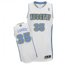 NBA Kenneth Faried Authentic Men's White Jersey - Adidas Denver Nuggets &35 Home