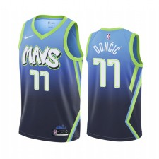 Luka Doncic Dallas Mavericks 2019-20 City Edition Maillot Bleu