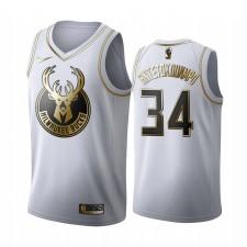Milwaukee Bucks Giannis Antetokounmpo Blanc Golden Edition Maillot