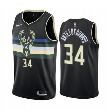 Milwaukee Bucks Giannis Antetokounbos Noir 2019-20 Statement Edition Maillot