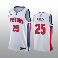 Hommes Detroit Pistons Derrick Rose Blanc Association Edition Maillot