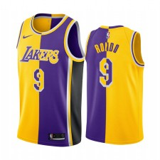 Los Angeles Lakers Rajon Rondo Jaune Violet Split Maillot