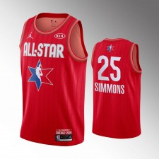 Masculins Philadelphie 76ers Ben Simmons 2020 NBA All-Star Jeu Rouge Finished Maillot