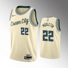 Milwaukee Bucks Khris Middleton Crèm 2019-20 Maillot - Ville